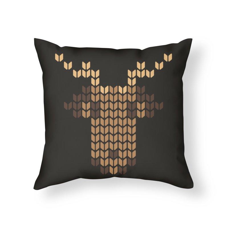 Christmas' Deer Home Throw Pillow by YANMOS