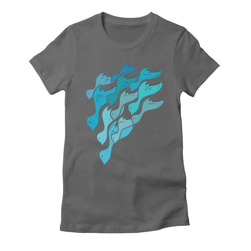 Falling Birds Women's Fitted T-Shirt by Yanmos's Artist Shop