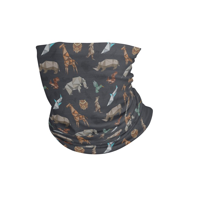 Animal Kingdom, origami style pattern Accessories Neck Gaiter by YANMOS