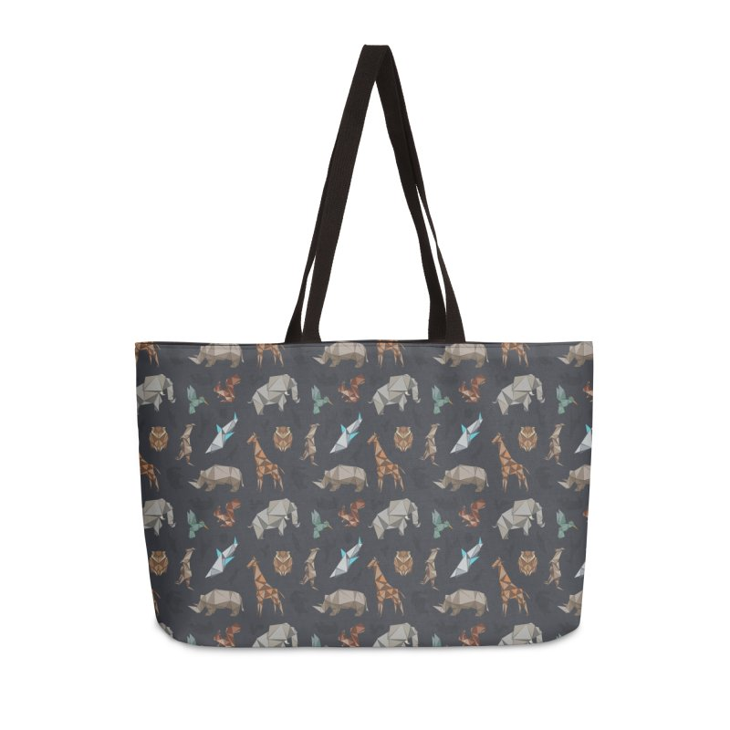 Animal Kingdom, origami style pattern Accessories Weekender Bag Bag by YANMOS