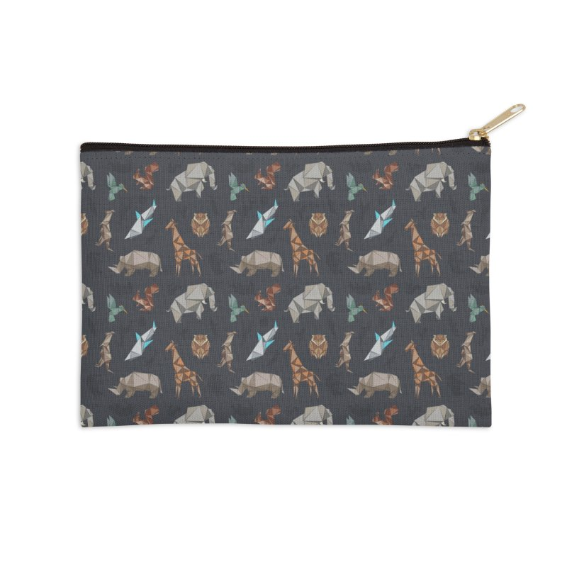 Animal Kingdom, origami style pattern Accessories Zip Pouch by YANMOS