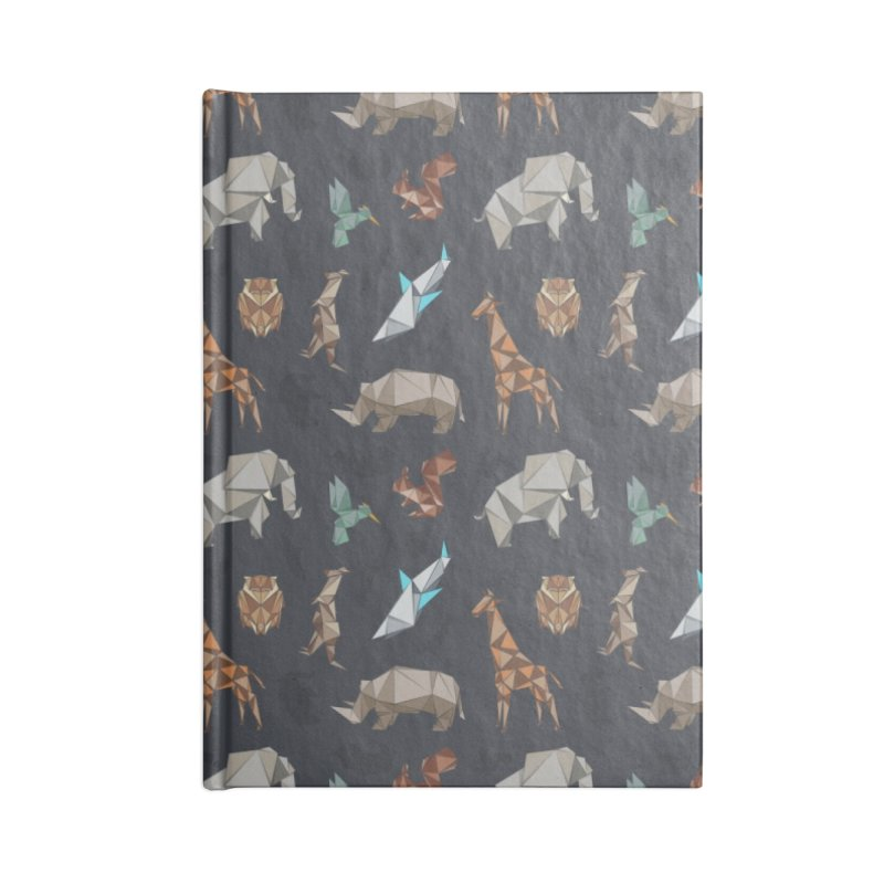Animal Kingdom, origami style pattern Accessories Lined Journal Notebook by YANMOS