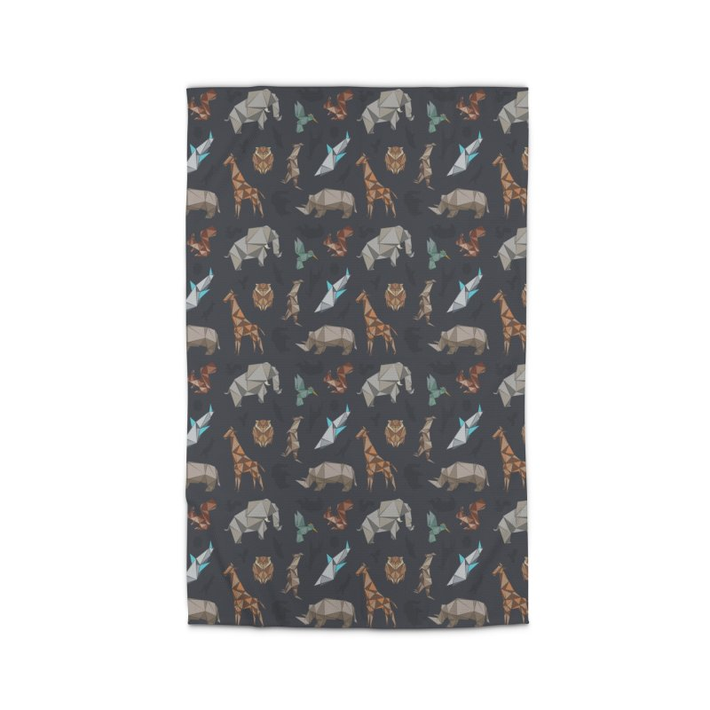 Animal Kingdom, origami style pattern Home Rug by YANMOS