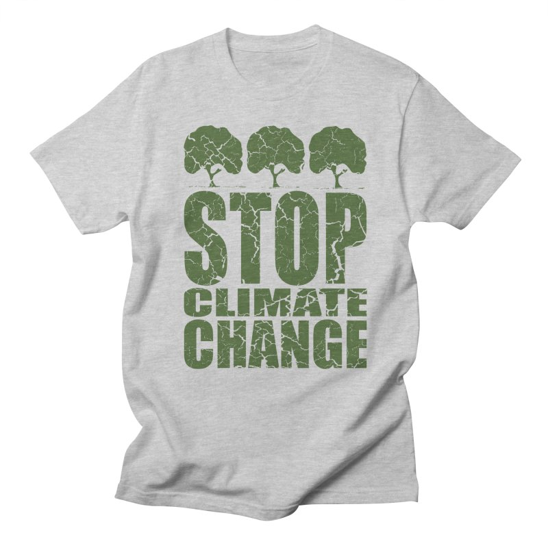 Stop Climate Change in Men's Regular T-Shirt Heather Grey by YANMOS