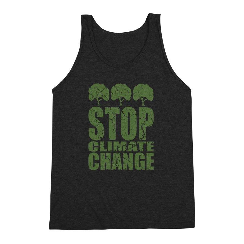 Stop Climate Change Men's Triblend Tank by YANMOS