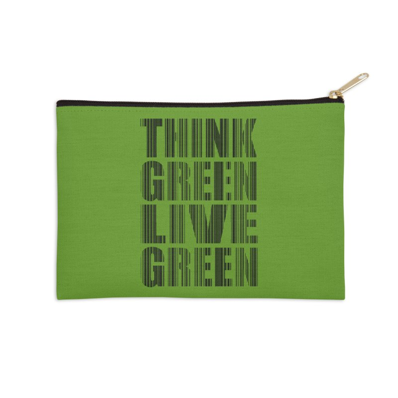 THINK GREEN LIVE GREEN Accessories Zip Pouch by YANMOS
