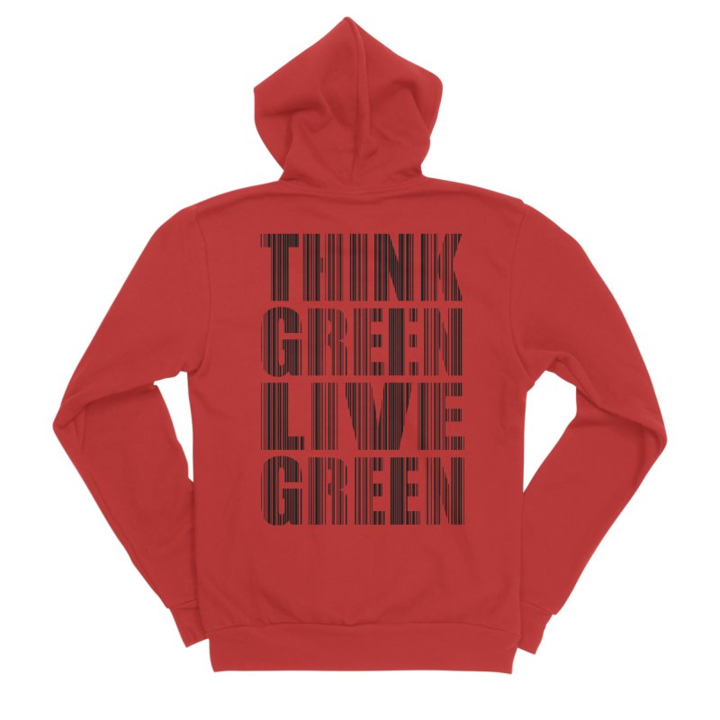 THINK GREEN LIVE GREEN Men's Sponge Fleece Zip-Up Hoody by YANMOS