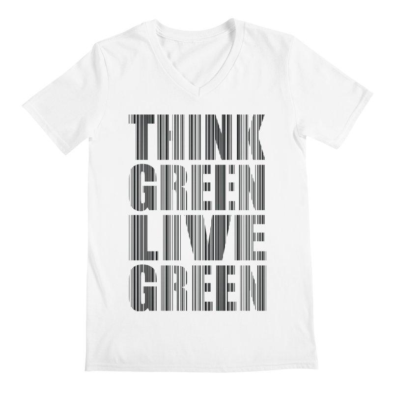 THINK GREEN LIVE GREEN Men's V-Neck by YANMOS
