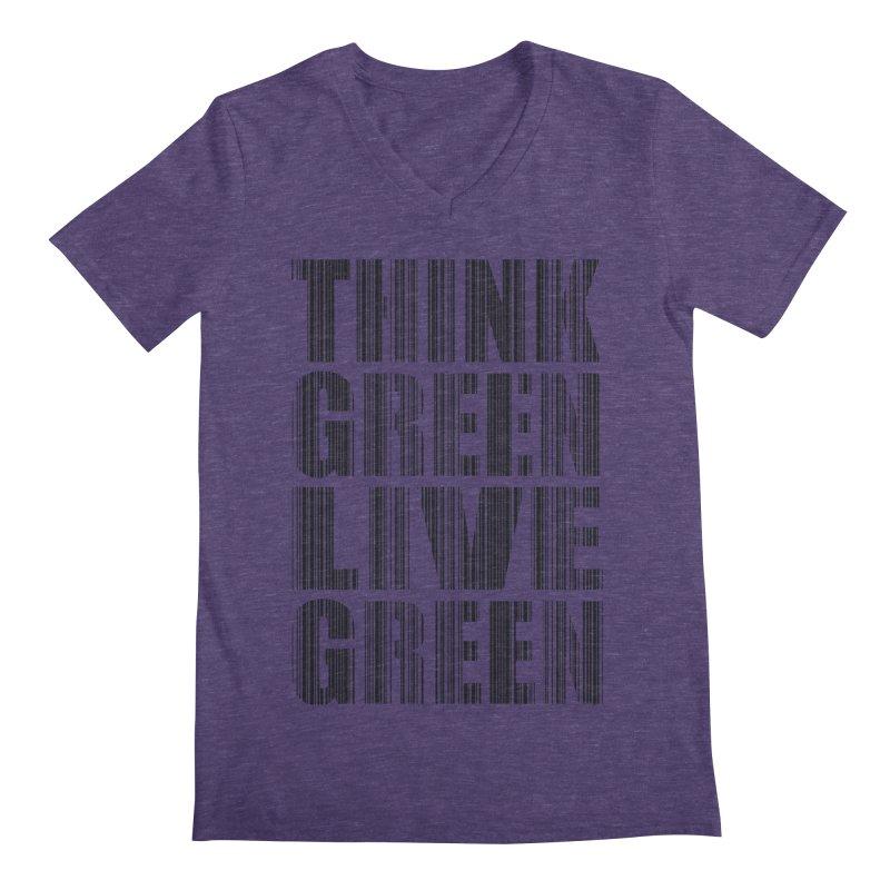 THINK GREEN LIVE GREEN Men's Regular V-Neck by YANMOS