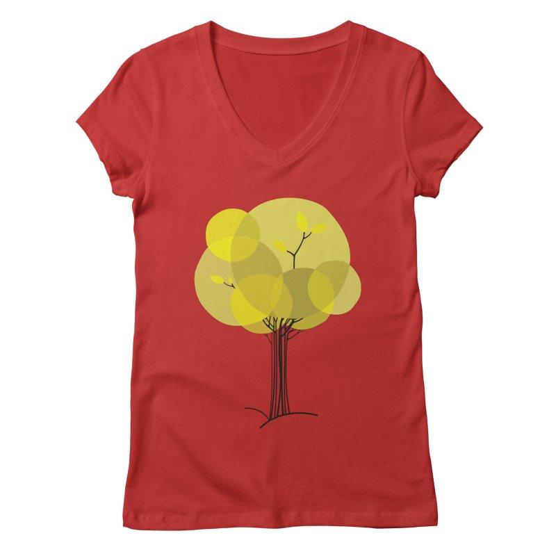 Autumn tree Women's Regular V-Neck by YANMOS