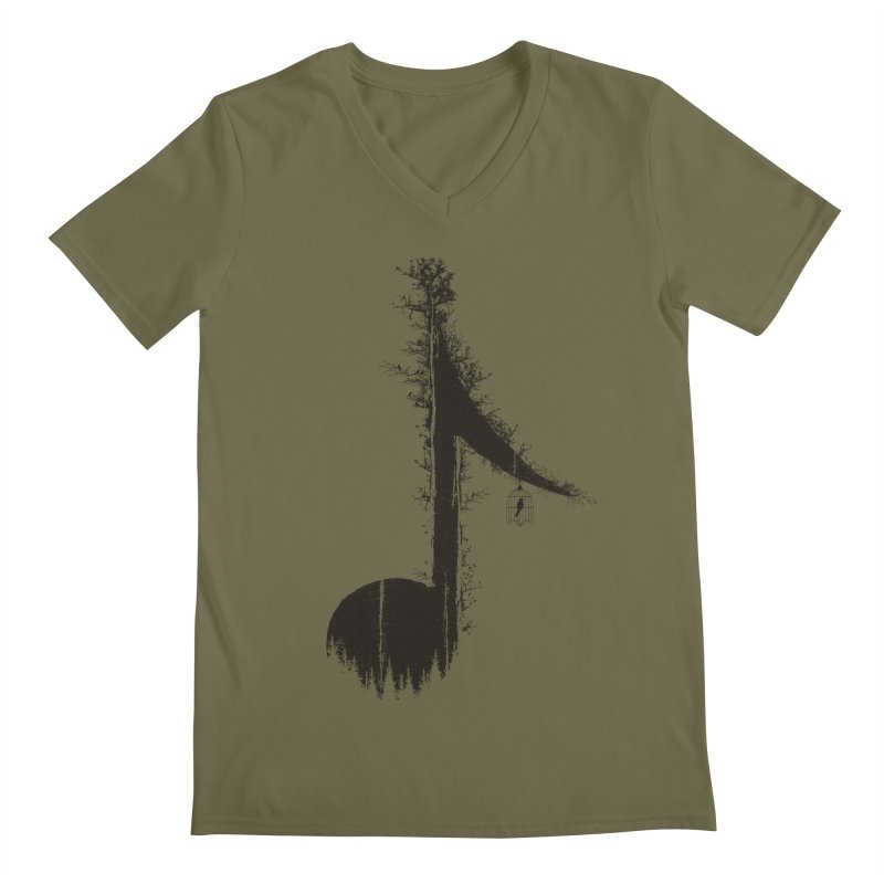 Nature has music for those who listen Men's Regular V-Neck by YANMOS