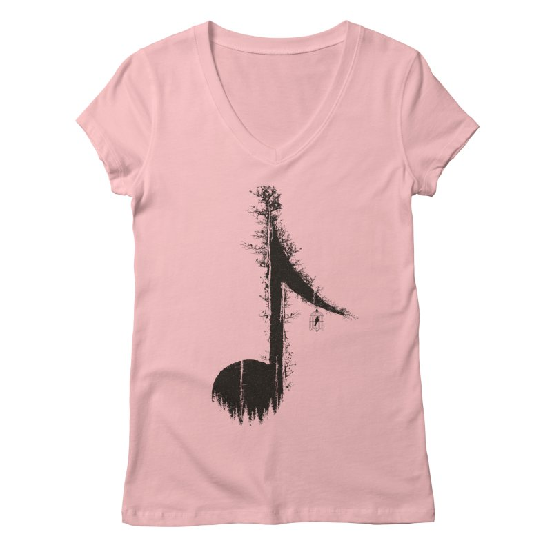 Nature has music for those who listen Women's Regular V-Neck by YANMOS