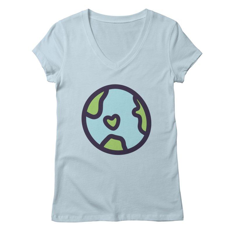Planet Earth Women's Regular V-Neck by YANMOS