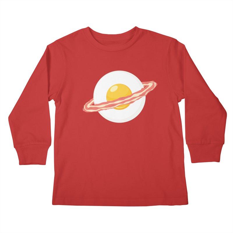 Outer space breakfast Kids Longsleeve T-Shirt by YANMOS