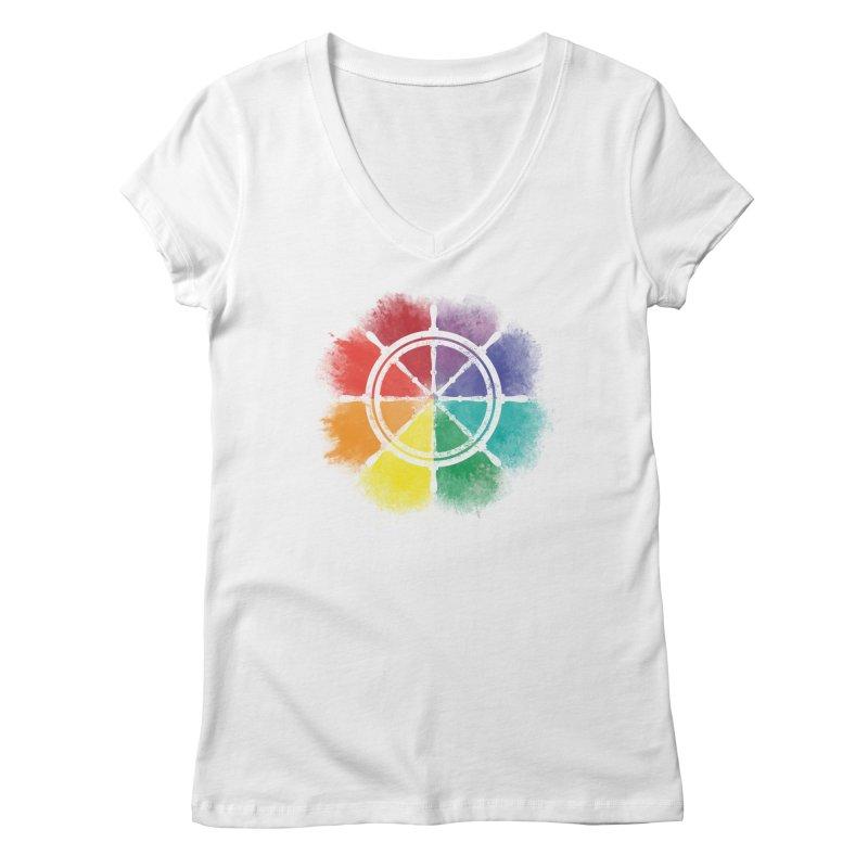 Color Wheel Women's Regular V-Neck by Yargyle's Artist Shop