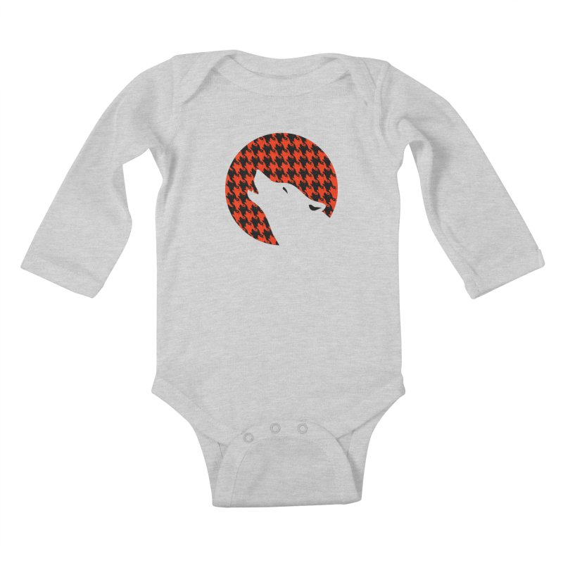 Howling Houndstooth Kids Baby Longsleeve Bodysuit by Yargyle's Artist Shop