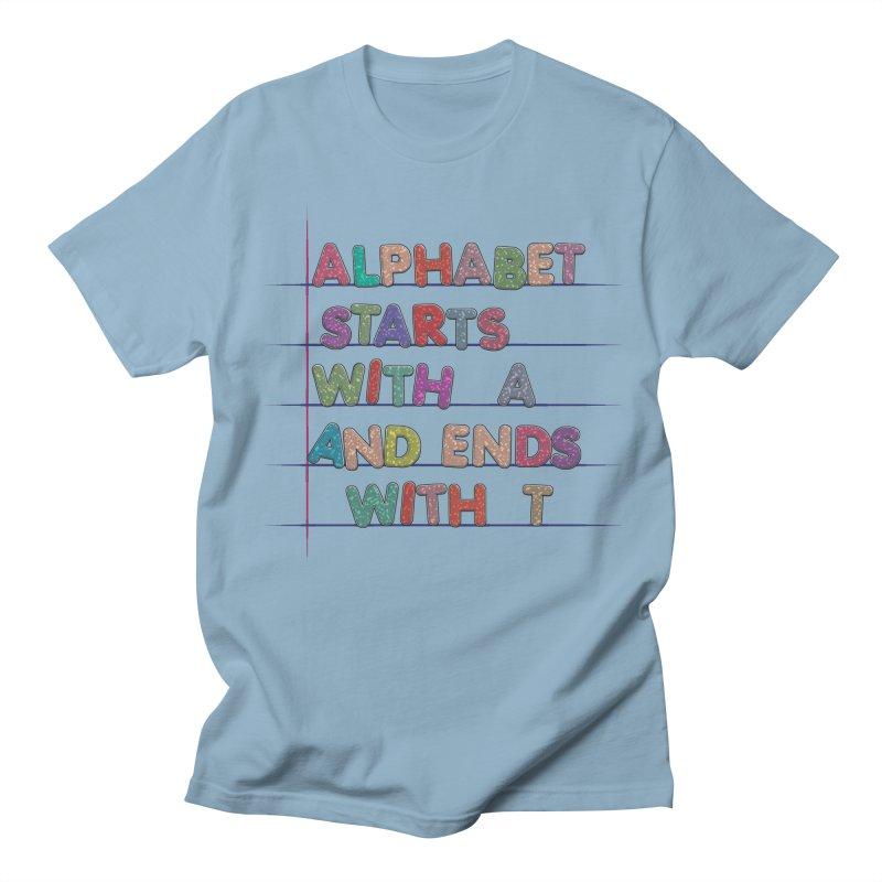 Alphabet Trivia in Men's Regular T-Shirt Light Blue by Half Moon Giraffe