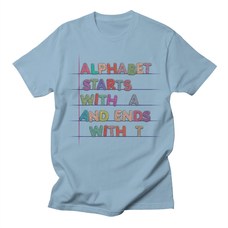 Alphabet Trivia in Men's Regular T-Shirt Light Blue by Half Moon Giraffe