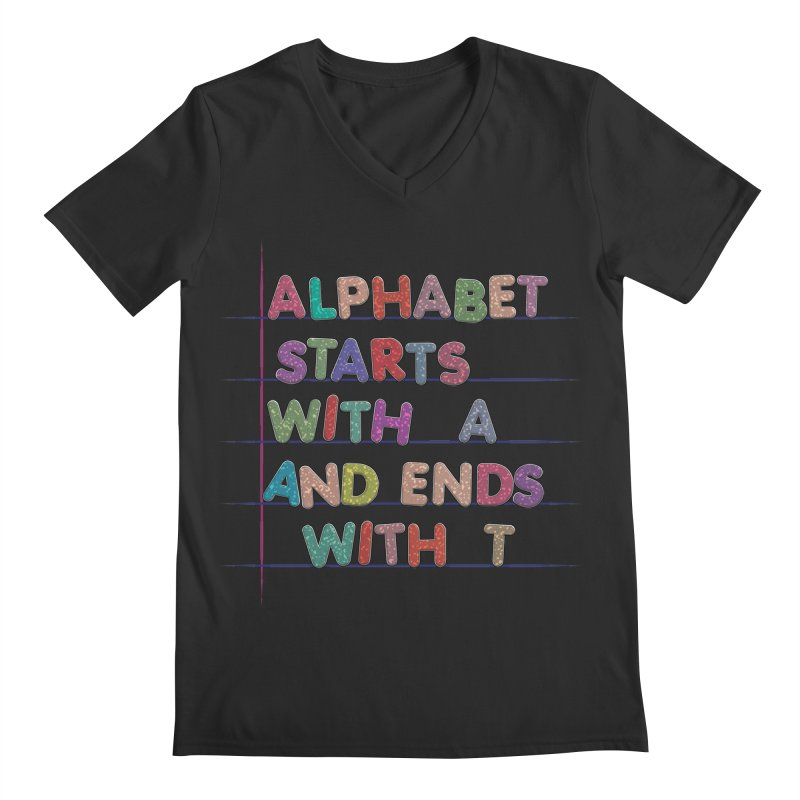 Alphabet Trivia Men's Regular V-Neck by Half Moon Giraffe