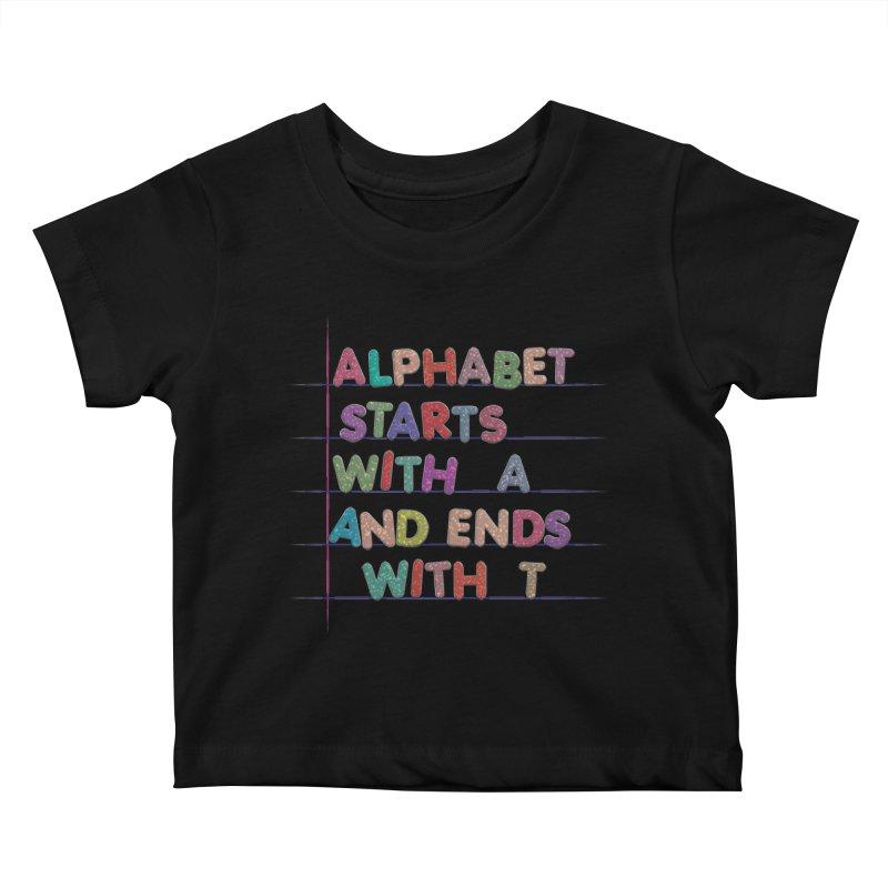 Alphabet Trivia Kids Baby T-Shirt by Half Moon Giraffe