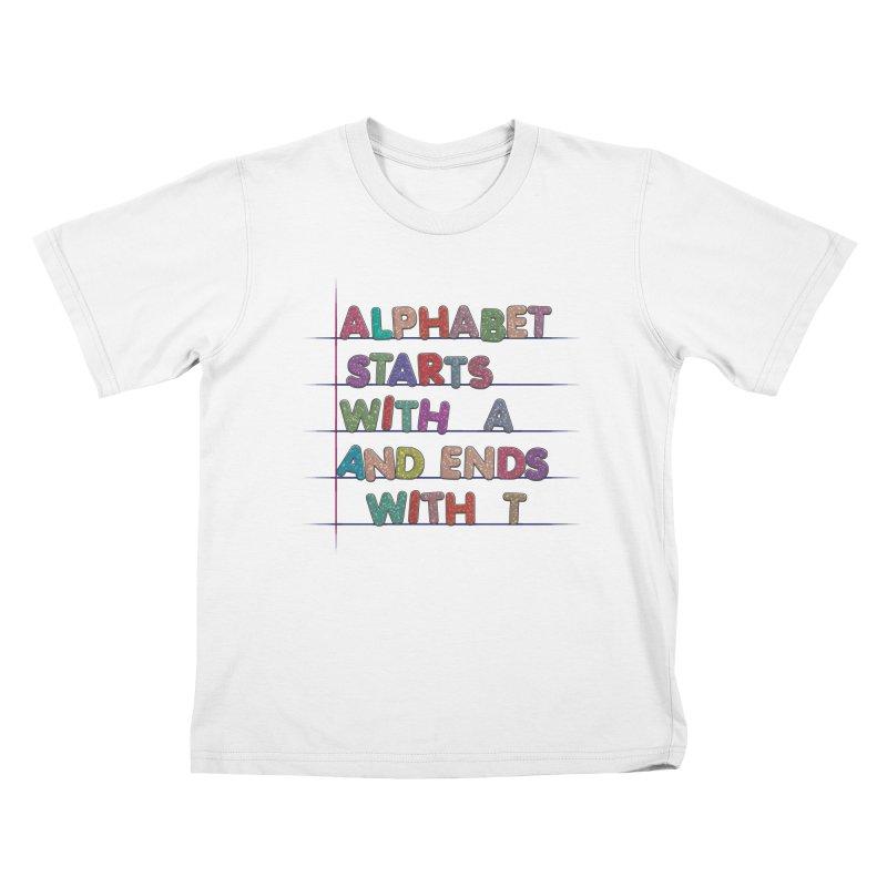 Alphabet Trivia Kids T-Shirt by Half Moon Giraffe