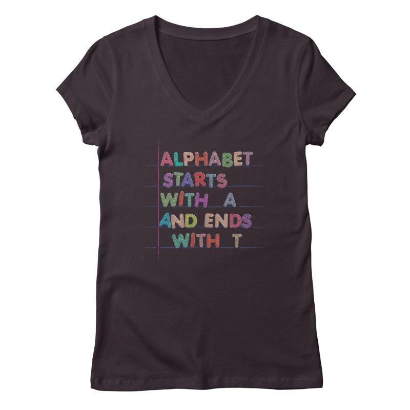 Alphabet Trivia Women's Regular V-Neck by Half Moon Giraffe