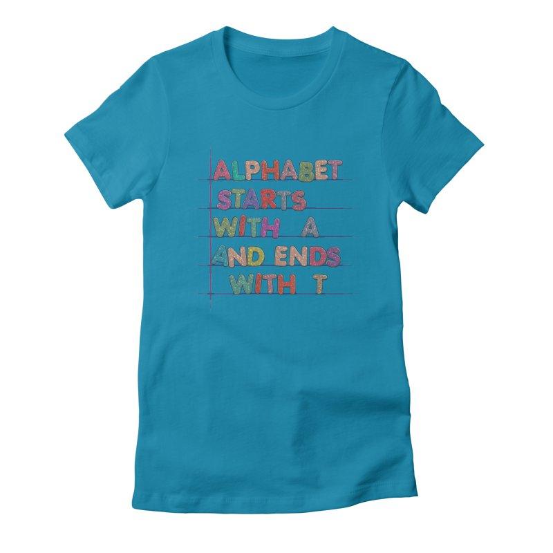Alphabet Trivia Women's Fitted T-Shirt by Half Moon Giraffe