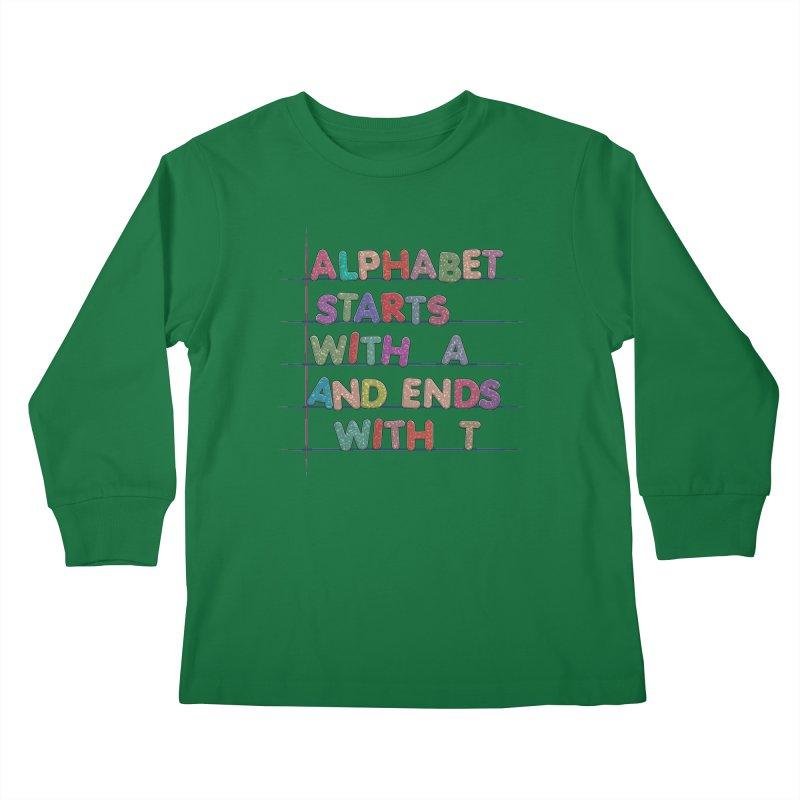 Alphabet Trivia Kids Longsleeve T-Shirt by Half Moon Giraffe