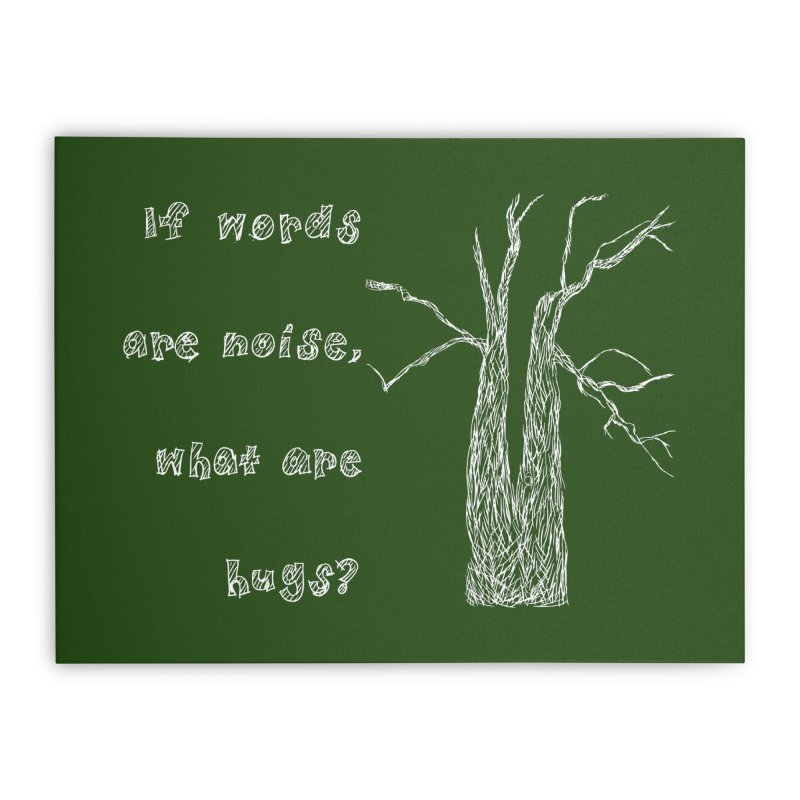 Free Hugs White Home Stretched Canvas by Half Moon Giraffe
