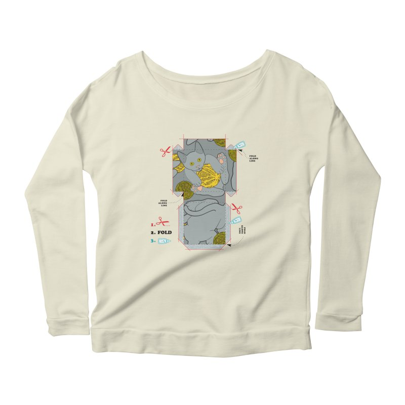 A Cat Above Women's Longsleeve Scoopneck  by Half Moon Giraffe