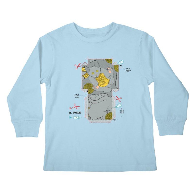 A Cat Above Kids Longsleeve T-Shirt by Half Moon Giraffe