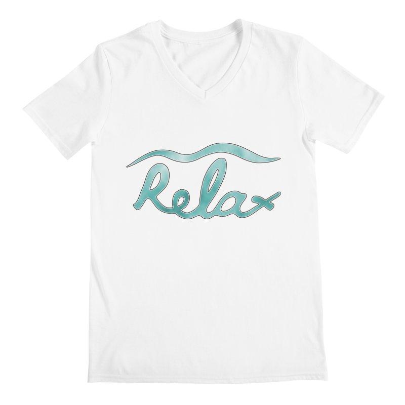 Relax Men's Regular V-Neck by Half Moon Giraffe