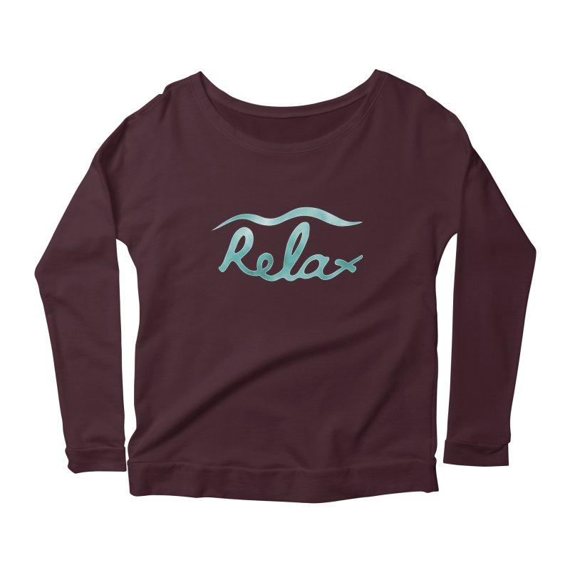 Relax Women's Scoop Neck Longsleeve T-Shirt by Half Moon Giraffe