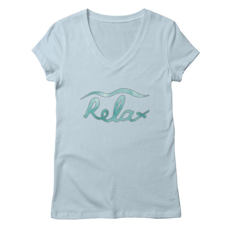 Relax Women's Regular V-Neck by Half Moon Giraffe