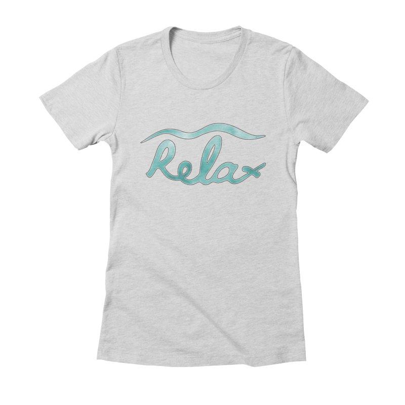 Relax Women's Fitted T-Shirt by Half Moon Giraffe