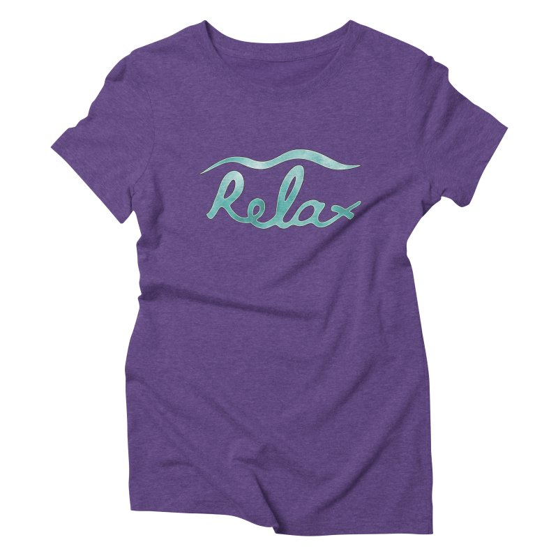 Relax in Women's Triblend T-shirt Tri-Purple by Half Moon Giraffe