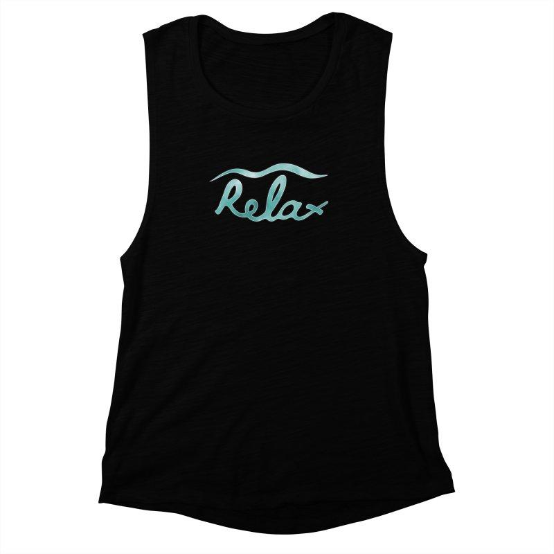 Relax Women's Muscle Tank by Half Moon Giraffe