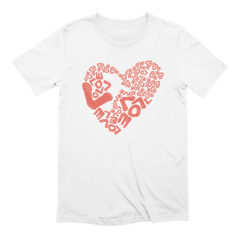 L- for CORAL Men's Extra Soft T-Shirt by Half Moon Giraffe