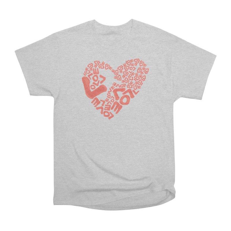 L- for CORAL Men's Heavyweight T-Shirt by Half Moon Giraffe