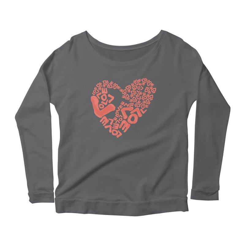 L- for CORAL Women's Scoop Neck Longsleeve T-Shirt by Half Moon Giraffe
