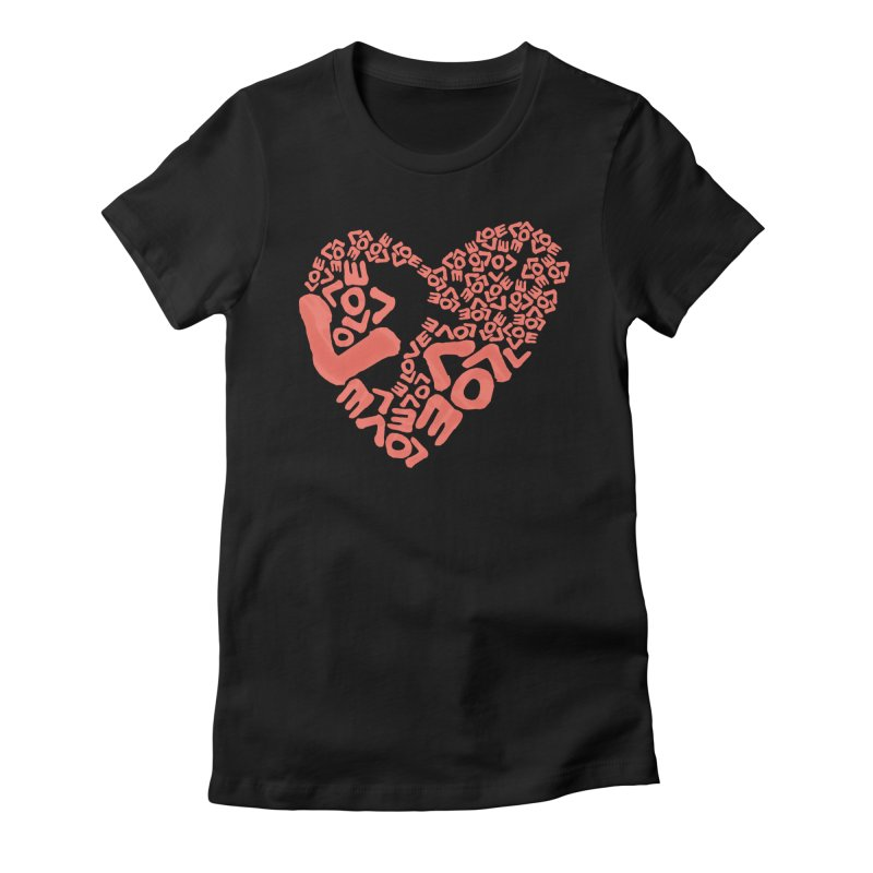L- for CORAL Women's Fitted T-Shirt by Half Moon Giraffe