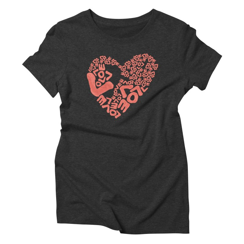 L- for CORAL Women's Triblend T-Shirt by Half Moon Giraffe