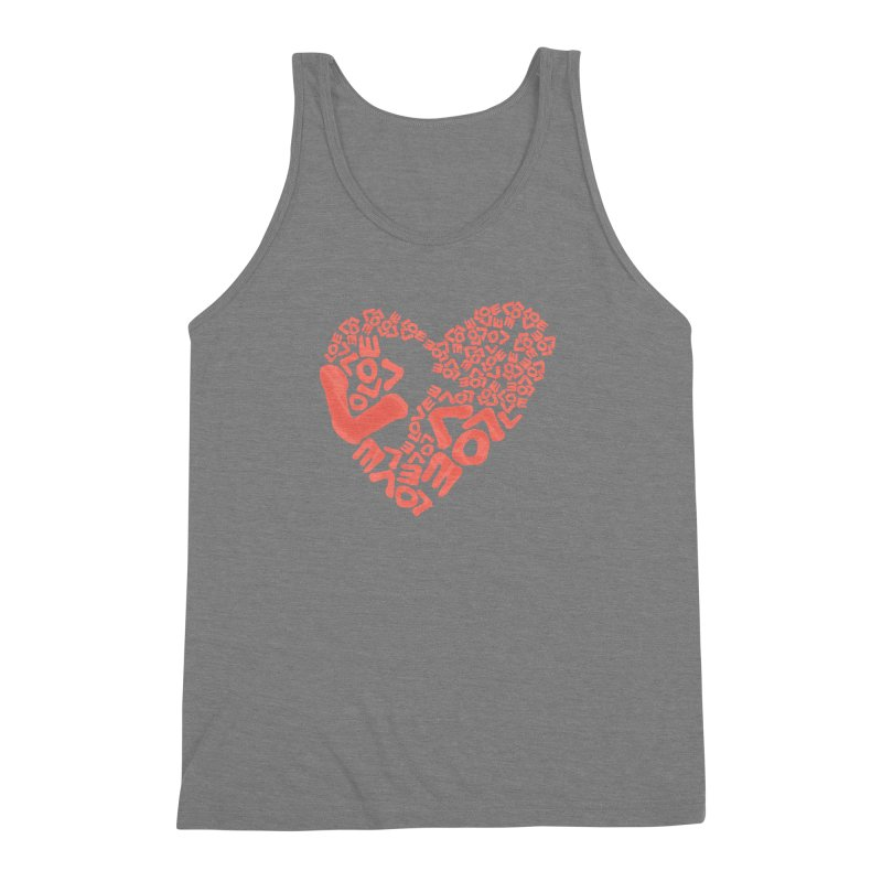L- for CORAL Men's Triblend Tank by Half Moon Giraffe