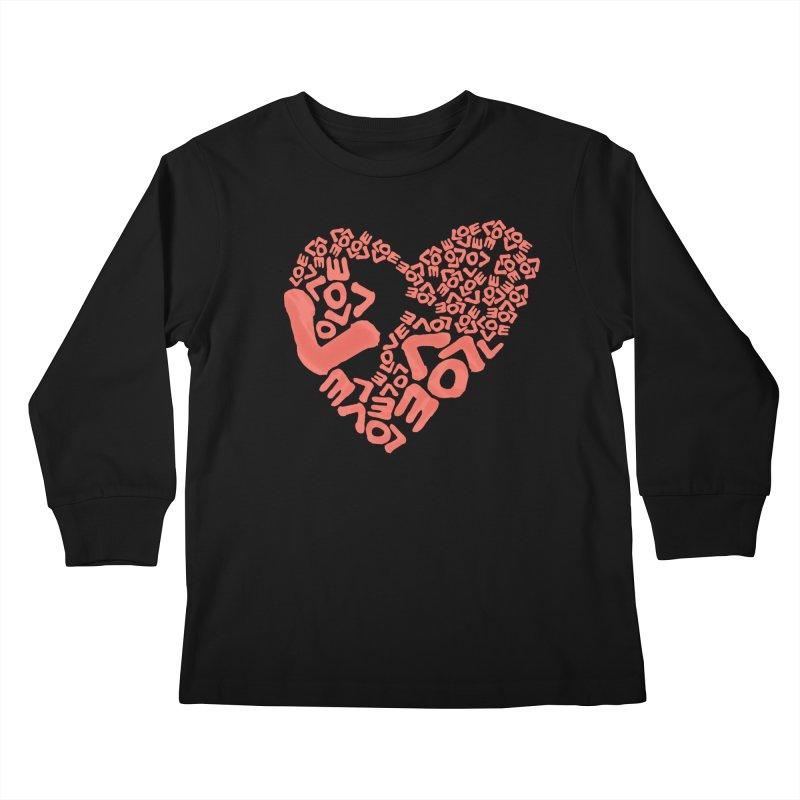 L- for CORAL Kids Longsleeve T-Shirt by Half Moon Giraffe