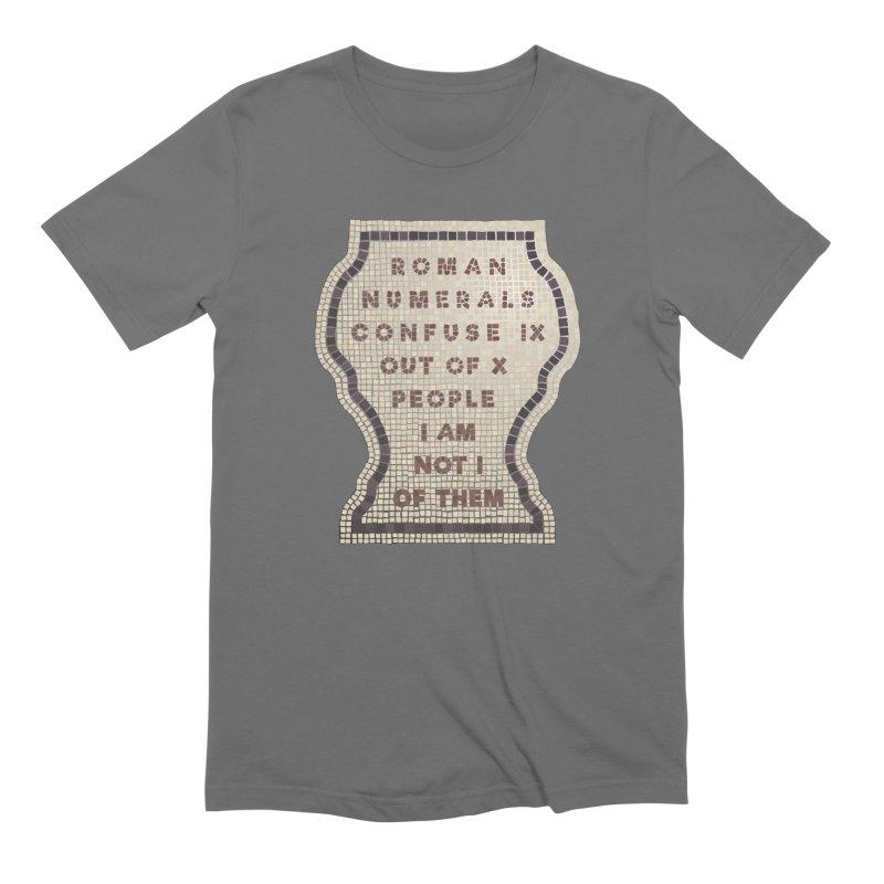 X = IX + I: Roman Numerals in Men's Extra Soft T-Shirt Asphalt by Half Moon Giraffe
