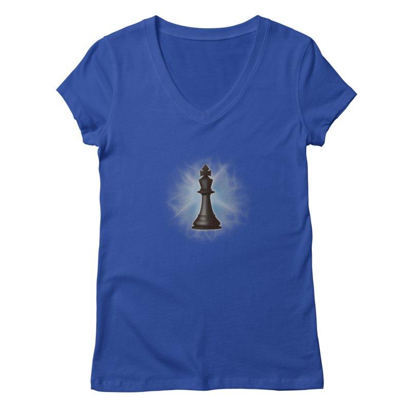Chess King Women's V-Neck by yavuzkorpefiliz's Artist Shop