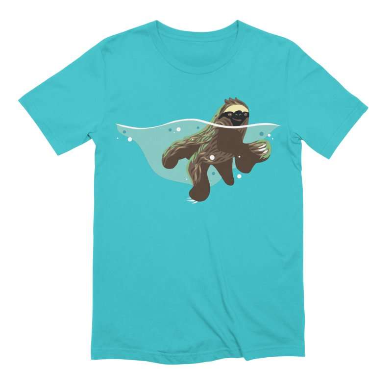 Swimming Sloth Men's Extra Soft T-Shirt by LAURA SANDERS