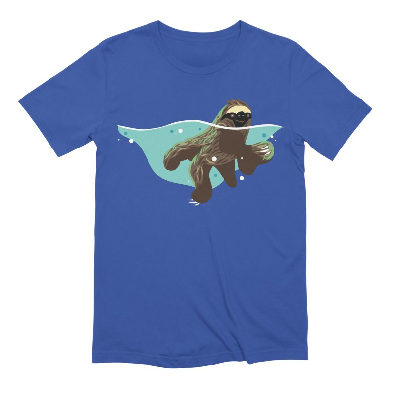 Swimming Sloth Men's T-Shirt by LAURA SANDERS