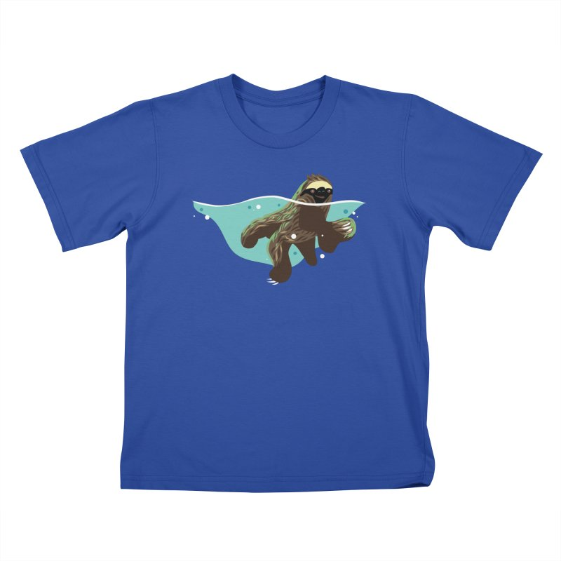 Swimming Sloth Kids T-Shirt by LAURA SANDERS