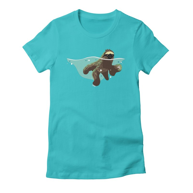 Swimming Sloth Women's Fitted T-Shirt by LAURA SANDERS
